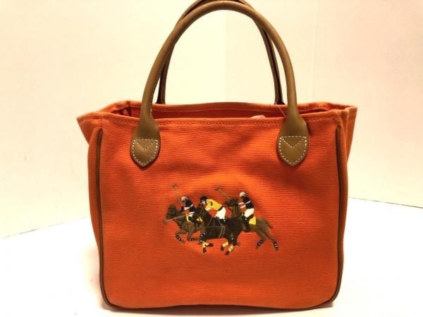 RalphLauren(ラルフローレン) トートバッグ オレンジ×ライトブラウン×マルチ 刺繍