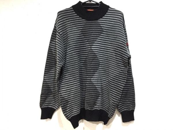 アンジェロガルバス 長袖セーター サイズL メンズ新品同様  黒×グレー×ダークグレー