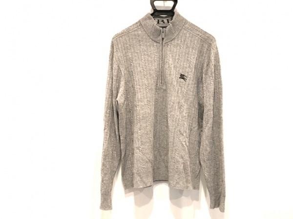 バーバリーゴルフ 長袖セーター サイズL メンズ美品  グレー ジップアップ