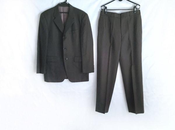 メンズビギ シングルスーツ サイズM メンズ ダークブラウン×ライトグレー ストライプ