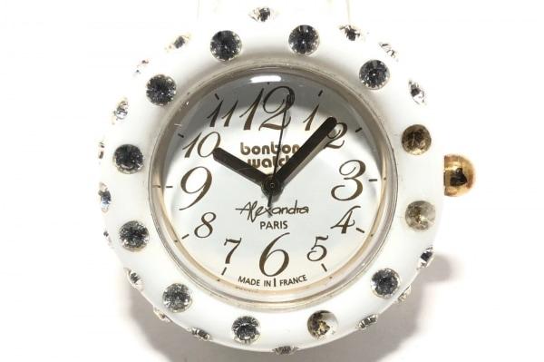 ボンボンウォッチ 腕時計 - レディース 革ベルト/裏スケ/ラインストーンベゼル
