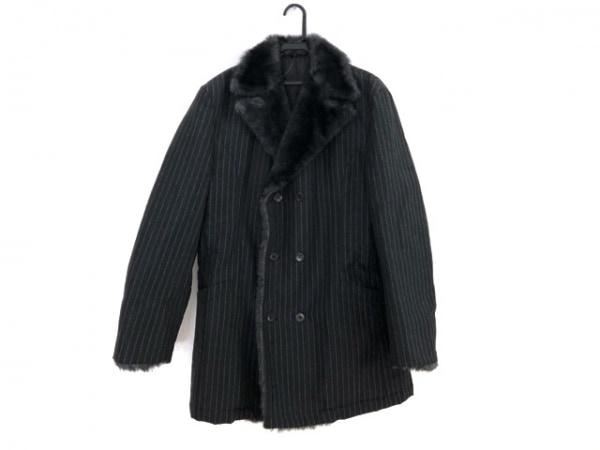ゴルチエオム オブジェ コート サイズ48 XL メンズ 黒×ライトグレー ストライプ/冬物