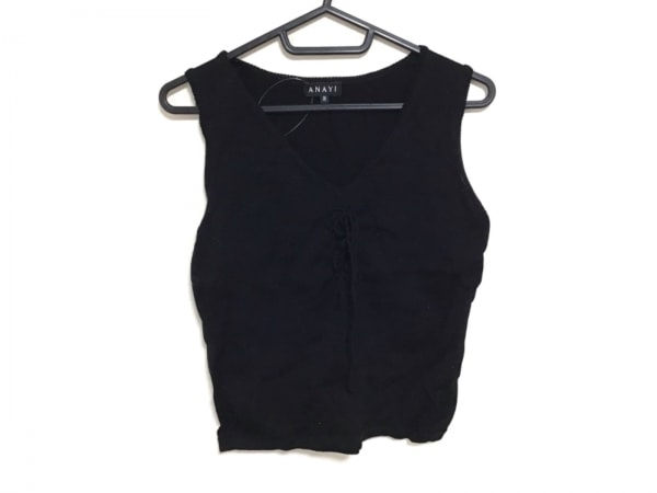 ANAYI(アナイ) ノースリーブセーター サイズ38 M レディース 黒 リボン
