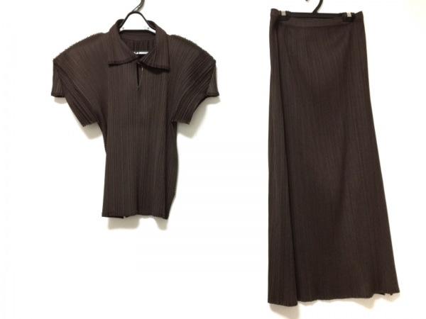 プリーツプリーズ スカートセットアップ サイズ4 XL レディース ダークブラウン