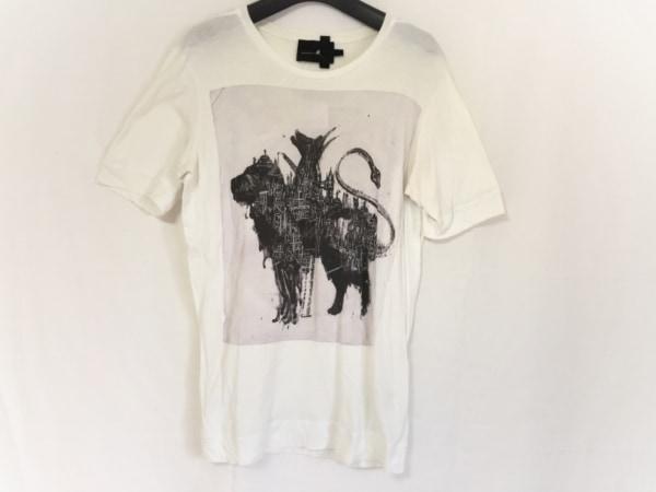 ディーゼルブラックゴールド 半袖Tシャツ サイズS メンズ 白×ダークグレー×マルチ