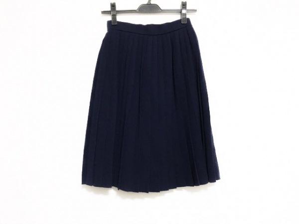 イヴサンローラン スカート サイズ9 M レディース美品  ダークネイビー プリーツ