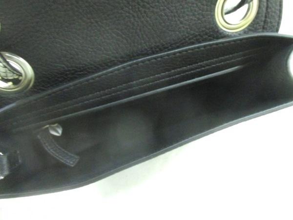 カルバンクライン ショルダーバッグ 黒×グレー 型押し加工/チェーンショルダー