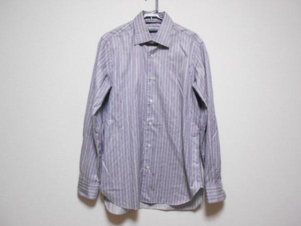 BARBA(バルバ) 長袖シャツ サイズ42 L メンズ パープル×白×黒 ストライプ