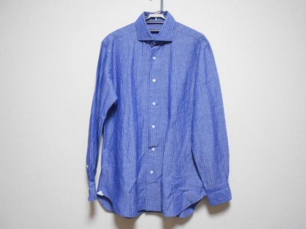 BARBA(バルバ) 長袖シャツ サイズ42 L メンズ ブルー ストライプ