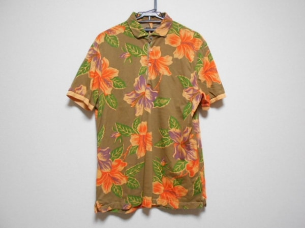 ORIAN(オリアン) 半袖ポロシャツ サイズL メンズ ブラウン×オレンジ×マルチ 花柄