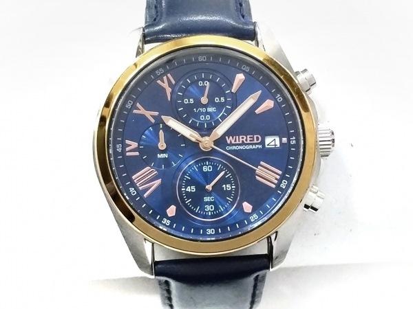 WIRED(ワイアード) 腕時計 VD57-KZ10 レディース 革ベルト/クロノグラフ ネイビー