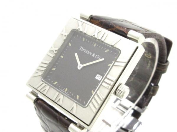 ティファニー 腕時計 アトラススクエア - レディース 革ベルト 黒 1