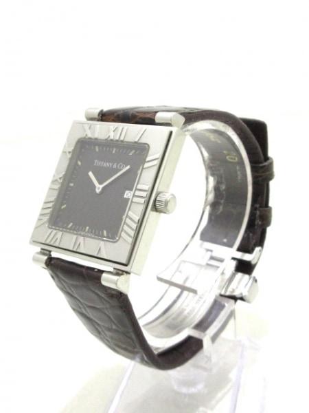 ティファニー 腕時計 アトラススクエア - レディース 革ベルト 黒 2