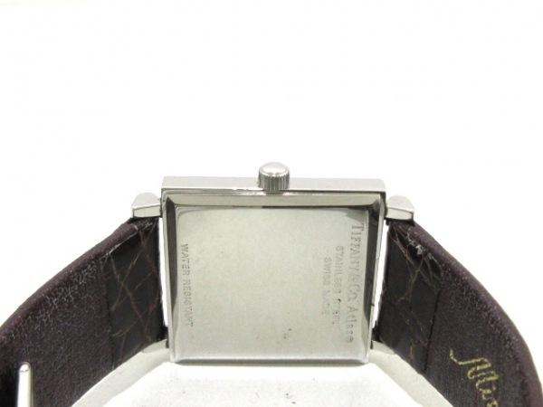 ティファニー 腕時計 アトラススクエア - レディース 革ベルト 黒 3