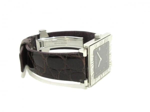 ティファニー 腕時計 アトラススクエア - レディース 革ベルト 黒 7