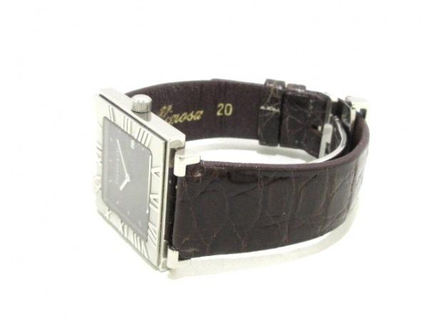 ティファニー 腕時計 アトラススクエア - レディース 革ベルト 黒 8
