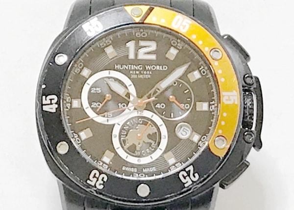 ハンティングワールド 腕時計 HW-908 メンズ クロノグラフ 黒×アイボリー