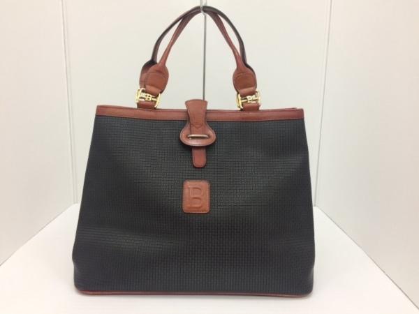 BALLY(バリー) トートバッグ 黒×ブラウン 型押し加工 PVC(塩化ビニール)×レザー