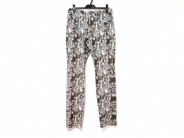 ミエコウエサコ パンツ サイズ46 XL レディース美品  ダークブラウン×アイボリー