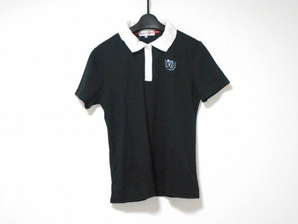 ミエコウエサコ 半袖ポロシャツ サイズ44 L レディース美品  黒×アイボリー