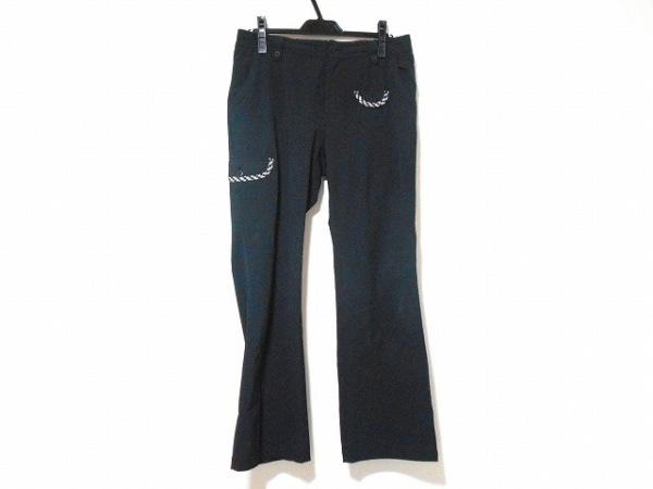 ミエコウエサコ パンツ サイズ44 L レディース 黒 アップリケ/チェック柄