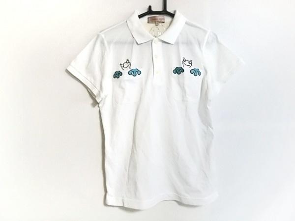 ミエコウエサコ 半袖ポロシャツ サイズ42 L レディース 白×ネイビー×黒