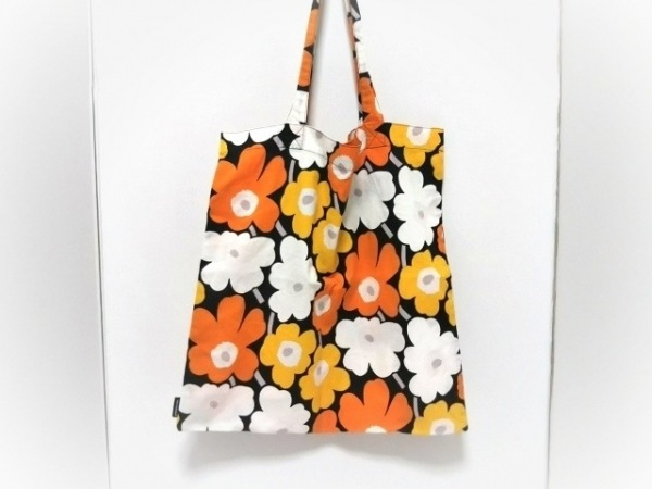 marimekko(マリメッコ) トートバッグ 黒×マルチ 花柄 コットン
