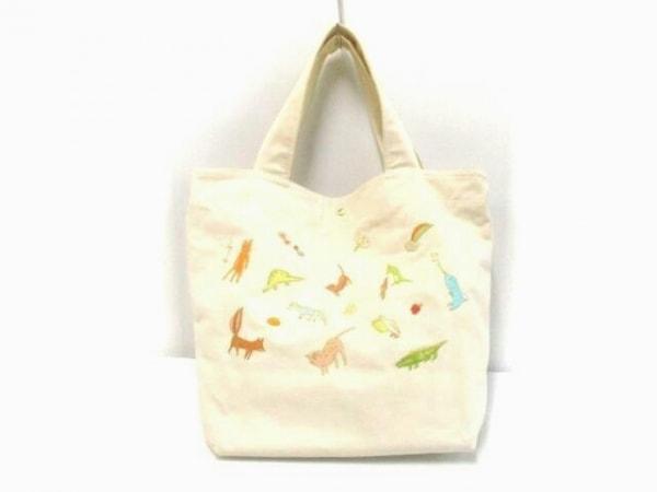 フランシュリッペ トートバッグ ライトブルー×マルチ リボン/刺繍 キャンバス