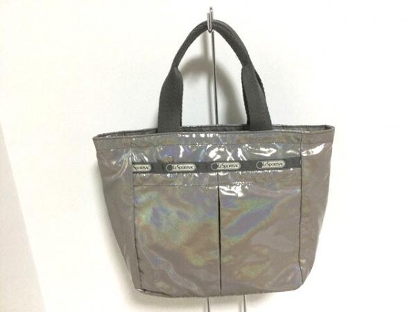 LESPORTSAC(レスポートサック) ハンドバッグ美品  グレー ラメ/ミニバッグ 化学繊維