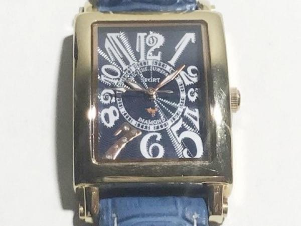 ミッシェルジョルダン 腕時計 SL-3000 レディース SPORT/型押し革ベルト/ダイヤ 黒