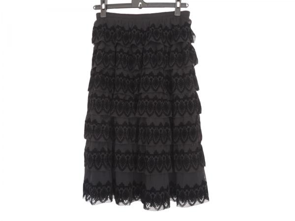 ヒロコビス スカート サイズ11 M レディース美品  黒 メッシュ/ティアード
