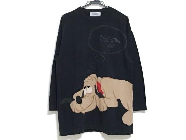 ICEBERG(アイスバーグ) 長袖セーター メンズ 黒×ベージュ×マルチ 刺繍/disneyコラボ
