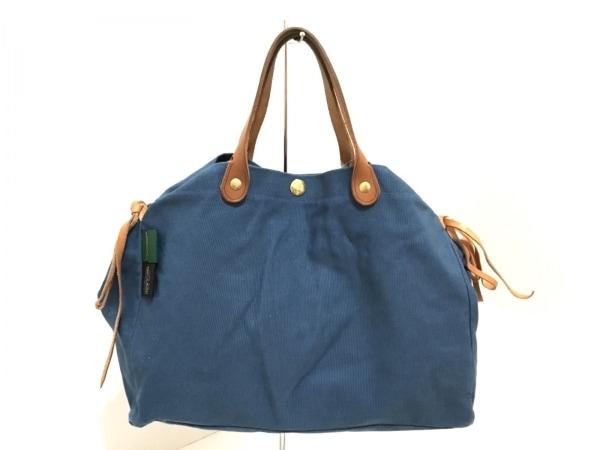 IL BISONTE(イルビゾンテ) トートバッグ美品  ブルー×ブラウン キャンバス×レザー
