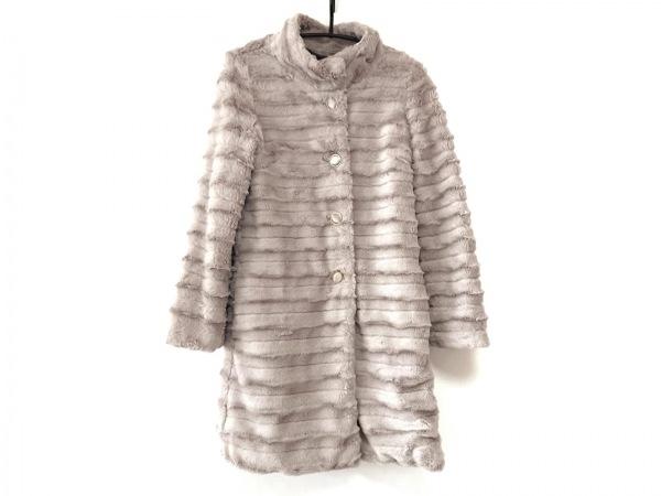 ルクールブラン コート サイズ38 M レディース美品  ベージュ 冬物/フェイクファー