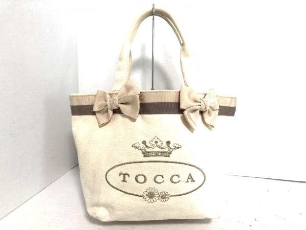 TOCCA(トッカ) トートバッグ ベージュ×ダークブラウン リボン キャンバス×化学繊維
