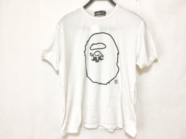 A BATHING APE(ア ベイシング エイプ) 半袖Tシャツ サイズL メンズ 白×黒