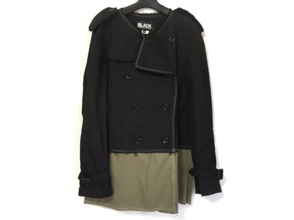 ブラックコムデギャルソン コート サイズS レディース美品  黒×ダークグリーン
