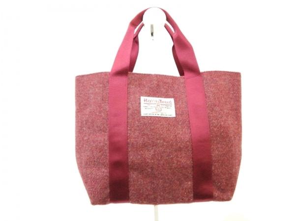 Harris Tweed(ハリスツイード) トートバッグ美品  レッド×グレー ウール×化学繊維