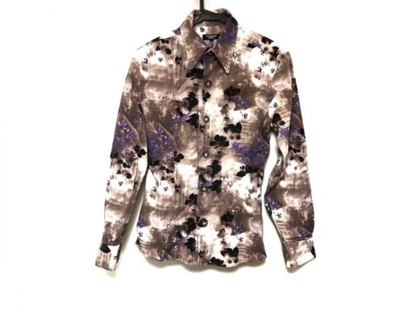 トルネードマート 長袖シャツ サイズM メンズ美品  アイボリー×ベージュ×マルチ