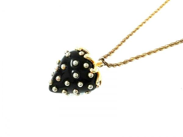 KENNETH JAY LANE(ケネスジェイレーン) ネックレス 金属素材 ゴールド×黒 イチゴ