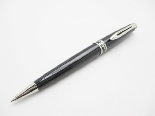 WATERMAN(ウォーターマン) ボールペン 黒×シルバー インクあり(黒)/イニシャル刻印