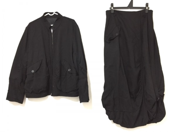 pour deux(プルドゥ) スカートセットアップ サイズM レディース 黒 ジップアップ