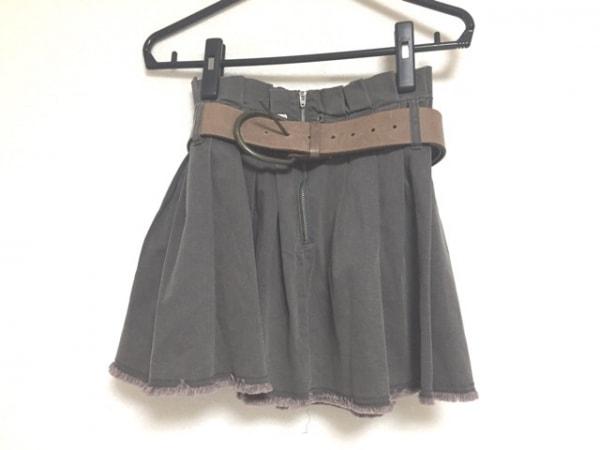 フォクシーエフガール ミニスカート サイズS レディース美品  ダークカーキ