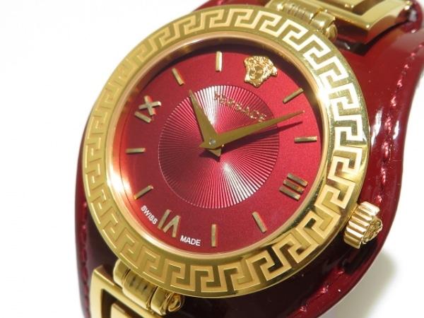 ヴェルサーチ 腕時計 Vシグネチャー VLA/VLA030014 レディース 革ベルト レッド