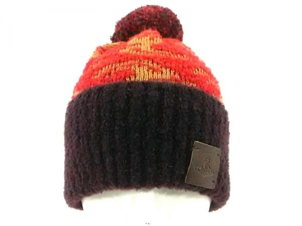 ヴィヴィアンウエストウッド ニット帽 ライトブラウン×レッド×マルチ
