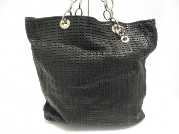 ChristianDior(クリスチャンディオール) トートバッグ - 黒 編み込み レザー