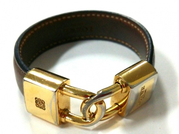 LOEWE(ロエベ) ブレスレット レザー×金属素材 ブラウン×ゴールド