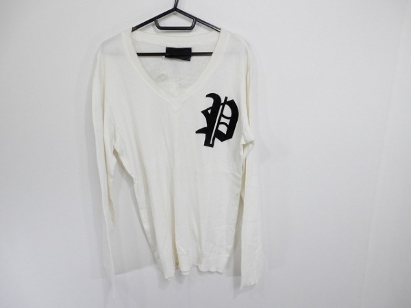 PHILIPP PLEIN(フィリッププレイン) 長袖カットソー メンズ アイボリー×黒×ベージュ