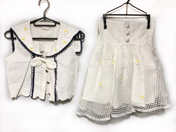 LIZLISA(リズリサ) スカートセットアップ レディース美品  白×ネイビー×イエロー
