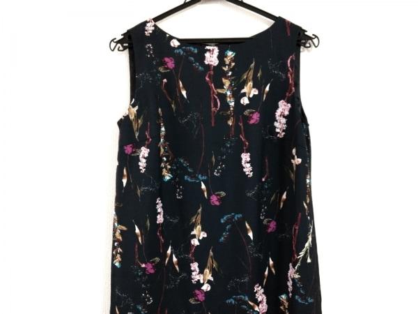 アンタイトル ワンピース サイズ2 M レディース美品  黒×ピンク×マルチ 花柄